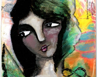 Girl with Angel Wings, Mixed Media Original Painting, 8x10 inches, Waiting For You