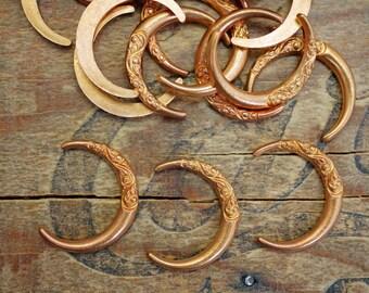 Vintage Copper Crescent Stampings with Floral Design (6) KP13