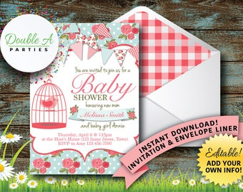 Shabby Chic Baby Shower Invitation - Girl Baby Shower Invite, Bird Baby Shower, Flower Baby Shower, Editable Invitation, Instant Download