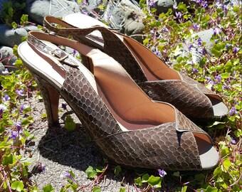 Evan Picone 80's Slingback Peep Toe Snakeskin Women's Shoes Size 7 1/2 M