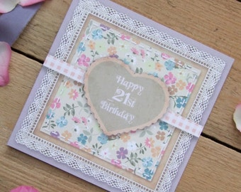 21st Birthday Card - Country Garden Vintage Printed Scrapbook Style