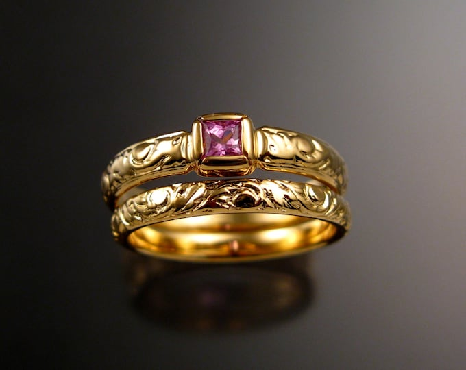 Pink Sapphire Wedding ring set 14k Yellow Gold princess cut gem Victorian bezel set Pink Diamond substitute ring made to order in your size
