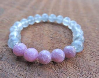 Lepidolite Cloud Quartz Bracelet, Chakra Bracelet, Healing Meditation Bracelet, Yoga Bracelet, Abundance, Gemstone Bracelet