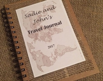 Personalised Notebook Travel Journal A5. Hard backed with lined paper.