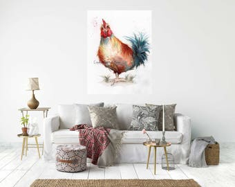 HEN,  Canvas Wrap Print From My Watercolour Art - Ready to hang