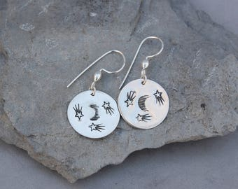 Crescent Moon Shooting Stars Sterling Silver Dangle Earrings 3/4""