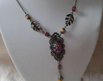 """""""print and red and yellow floral cabochon"""" necklace"""