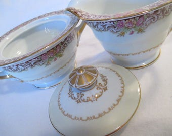 Vintage Noritake China Sugar Bowl and Creamer Set for Tea Party, Wedding, Bridal Shower, Shabby, Farmhouse