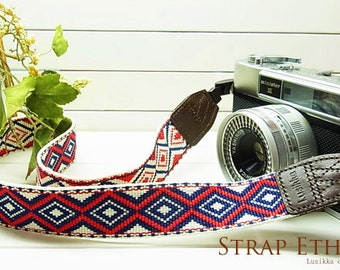 camera strap / simple and stylish  / ethnic tricolor