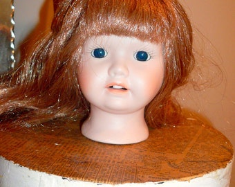 Porcelain Female Doll Head Doll Part Long Hair Glass Eyes Dollmaking by VintageStudioSupply