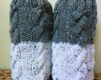 Hand Knitted Boot Cuffs Leg Warmers 2in1 Grey Tweed