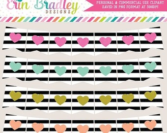 80% OFF SALE Clipart - Heart & Black Stripes Banners Commercial Use Clip Art Bunting Graphics Set