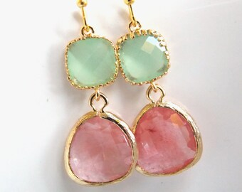 Glass Earrings, Green Earrings, Gold Earrings, Coral, Peach, Mint Green, Bridesmaid Earrings, Bridal Earrings Jewelry, Bridesmaid Gifts
