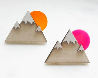 """Pin Brooch """"Mountain"""" white, plywood laser cut with acrylic detail pink or orange"""