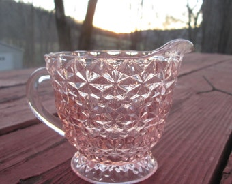 Vintage Pink Glass Creamer - Jeanette Glass Buttons and Bows