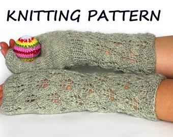 Lace fingerless gloves knitting pattern, arm warmers knitting pattern, instant download knitting pattern, wrist warmer knitting pattern