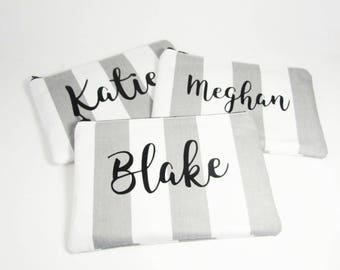 Set of 3 - Makeup Bag - Personalized Makeup Bag - Bridesmaid Bag - Cosmetic Bag - Toiletry Bag - Wallet - Medium