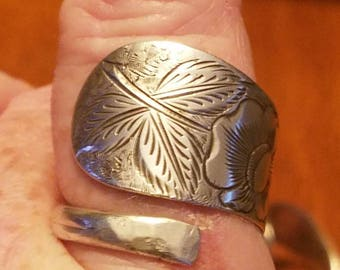 Adjustable sterling silver spoon ring