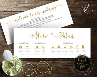 Printable Wedding Timeline card design (Indian wedding), Wedding Itineraries, welcome note for Welcome Bag in typography design (TED183_1)