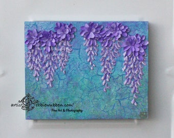 Papercraft  Flowers Hand Made 3D Wall Hanging Art 10x8 Shadow Box Art One of a Kind Gallery Water Element Small Canvas Multi Media Wood