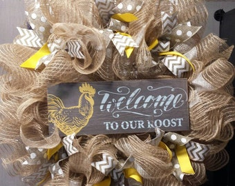 Welcome to our roost wreath