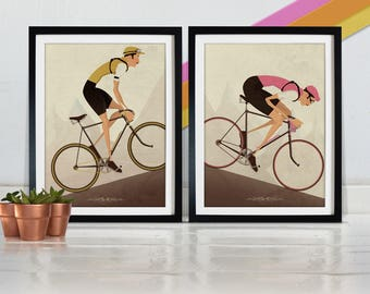 Cyclist Posters. Two Vintage Style Cyclist Bike Bicycle race Poster Wall Art Print Set Home Décor