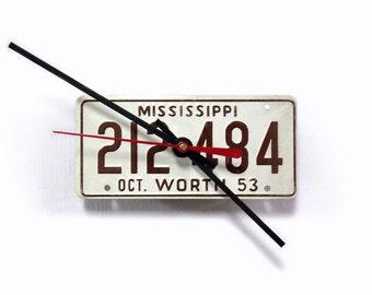 License Plate Clock - 1953 Mississippi License Tag