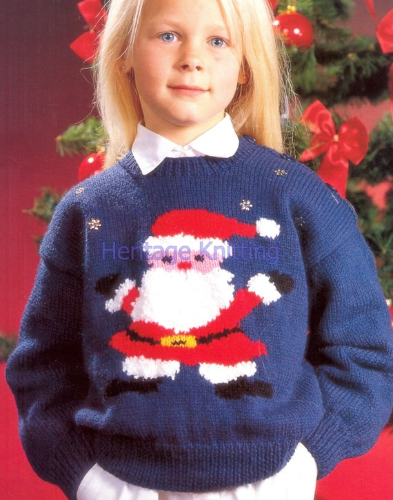Father Christmas Jumper Dk Knitting Pattern 99p