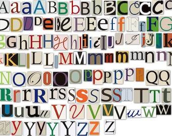 Magazine Letters Clipart Clip Art, Newspaper Magazine Alphabet Font Clipart Clip Art- Commercial Use