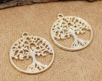 20pcs Rose Gold Tree of Life Charms Pendant 2 Sided 29x25mm C1282-MGJ