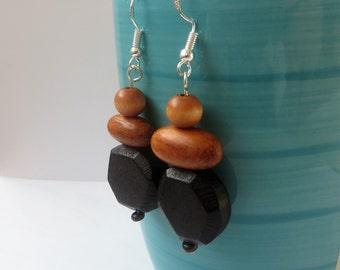 Wooden Earrings, Boho Chic Earrings Wood Dangle Earrings, Rustic Earrings, Black Wood Earrings, Wooden Jewelry, Wood Jewelry