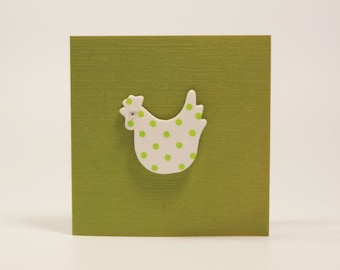 Green Mini Card With Wooden White Chicken With Green Dots and Wobbly Eye