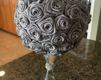 Custom Standing Crystal Ribbon Rose Bridal Bouquet or Centerpiece