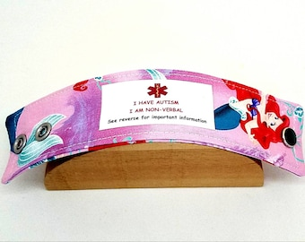 Kids Medical Alert Bracelet Safety ID Fabric Band Emergency Bracelet Little Mermaid