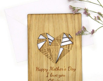 Mother Day Card Unique, Personalised Wooden Happy Mothers Day Card Unique Mother Day Gift, Cut Out Personalised Gift for Mum GEOMETRIC HEART