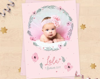 Customizable birth announcement (girl) - pastel pink Collection