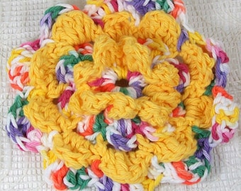 Crocheted Flower in Gumdrop and Yellow | Handmade Flower