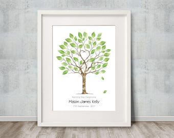 A4 Unity Tree with leaves added, guest book. A4 size 20-40 guest signatures.  Personalised with names and dates. FREE delivery Aust.