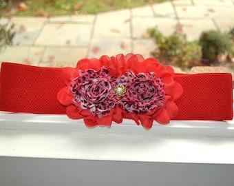 RedFlower cinch belt, Wide elastic stretch corset belt, elastic belt,  dressy belt, wedding belt, Hollywood, flower belt, Red belt