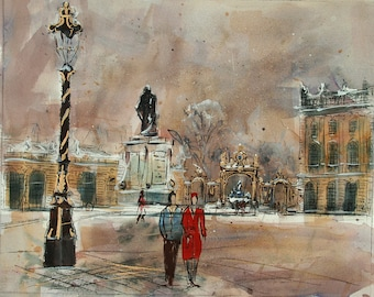 Place Stanislas in France original painting, original watercolor of a city, original mixed technique of the place Stanislas