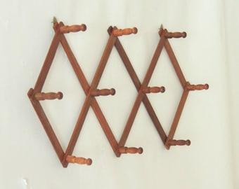 Vintage Accordion Peg Rack, wooden coat rack, hat rack, adjustable wood rack, umbrella wall rack, coffee cup rack, wall storage