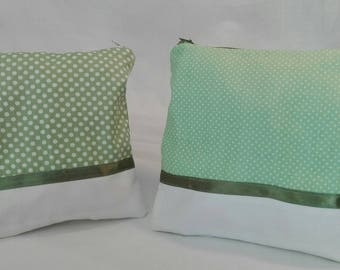 Two-tone case green and white polka dots