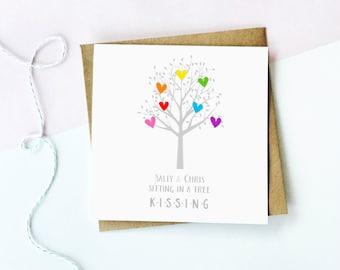 Kissing Tree Card, Personalised Anniversary Card, Personalized Anniversary Card, Love Card, Anniversary Card, Wedding Card