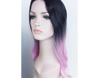 Ombre Pink black long wavy wig. synthetic hair. high quality wig. ready to ship.