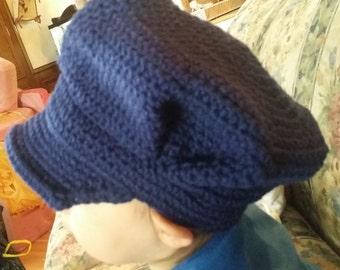 Train conductor hat, crocheted conductor hat, size nb - adult mens, navy hat, brim hat, hat with visor, train hat, choo choo hat, fun hat