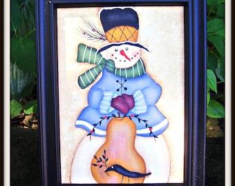 Primitive Snowman-Pear-5 x 7- Framed Canvas -Winter- Christmas- Home Decor Picture