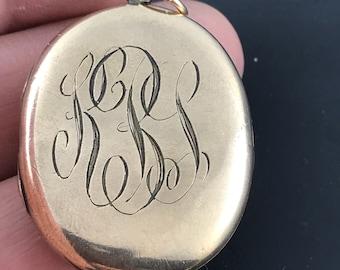 VICTORIAN LOCKET - gold locket - - picture  locket - KBL monogram antique locket - gold wedding locket  No.001286
