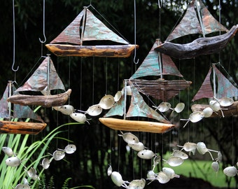 Small Aged Copper Sailboat With Spoon Fish Wind Chime - Blue Green Patina Copper Sails On A Rustic Driftwood Boat With 5 Silver Spoon Fish