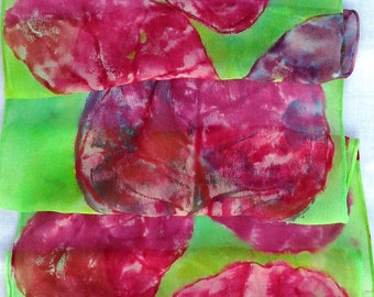 silk scarf chiffon pink red lime green Sea Grape hand painted unique long beach resort ocean wearable art women