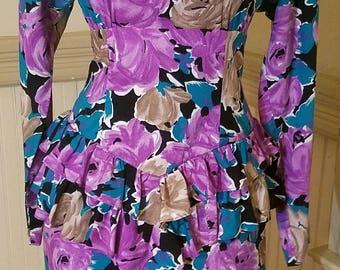 Vintage 80 1980's Floral Print Peplum Dress - Just Focus